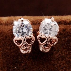 Cubic Zirconia Crystal Gold Skull Earrings